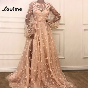 Arabic Evening Dress Robe De Soiree Middle East Women Party Gowns Vestido De Festa With Split Side 3D Flower Prom Dresses