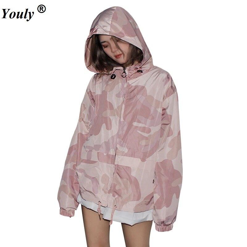 Chaqueta rompevientos con capucha Rosa camuflaje 2020 primavera otoño mujer cremallera bolsillos Casual mangas largas Feminino abrigos prendas de vestir