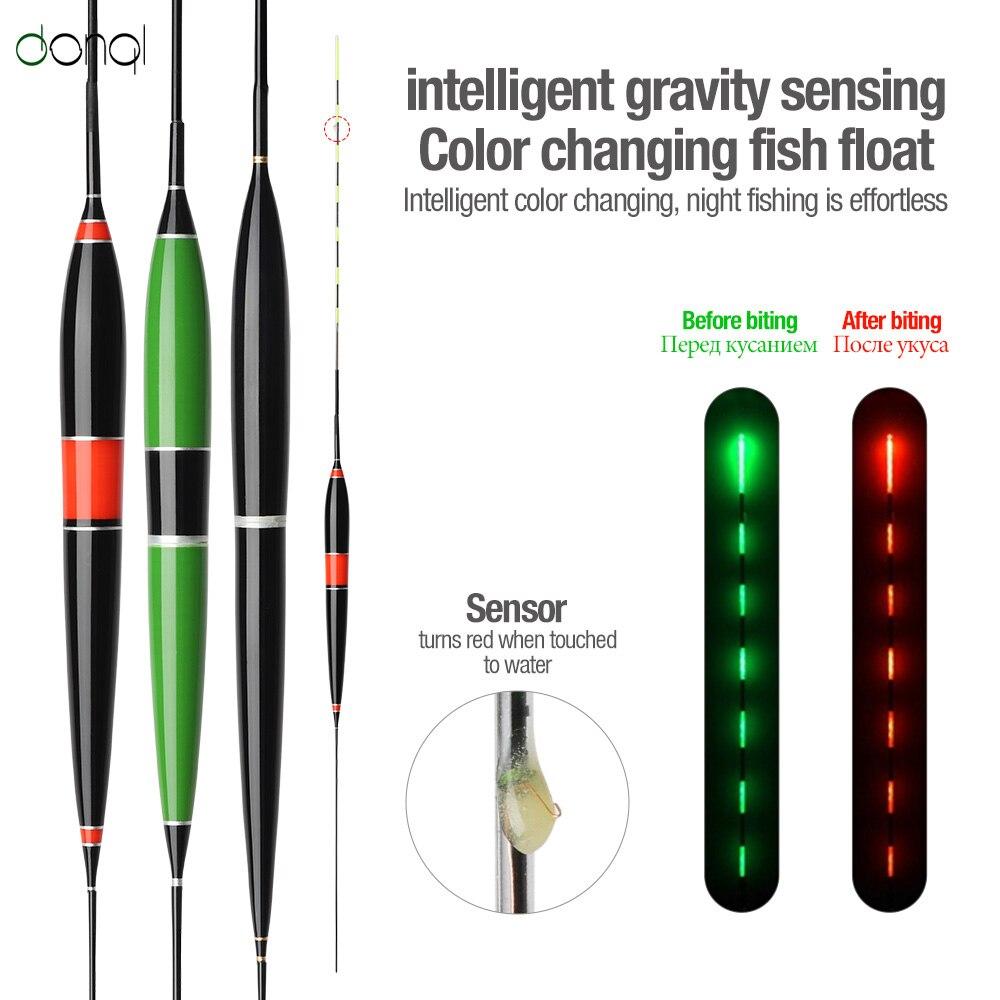 Donql inteligente led pesca flutuador mordida alarme isca de peixe luz fluorescente luminosa mudança de cor eletrônico flotador bobber boia