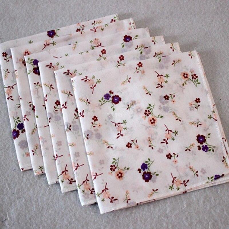 Pañuelo de algodón estampado para niños, toalla de bolsillo para niñas, pañuelos 5 unids/lote CM
