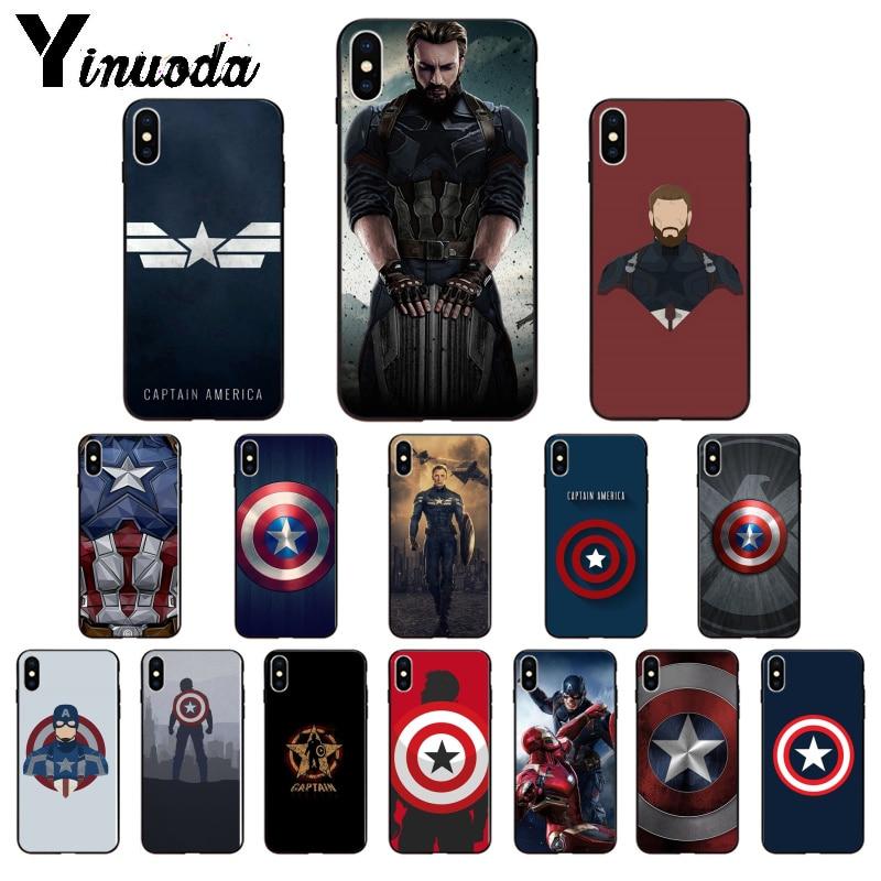 Yinuoda Marvel Capitán América suave de TPU caja del teléfono de silicona para iPhone X XS X MAX 6 6s 7 7plus 8 8Plus 5 5S SE XR