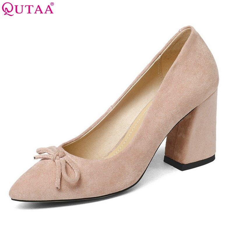 QUTAA-حذاء نسائي بكعب عالٍ ، حذاء كعب مربع أسود مخملي ، مقاس 34-43 ، 2020