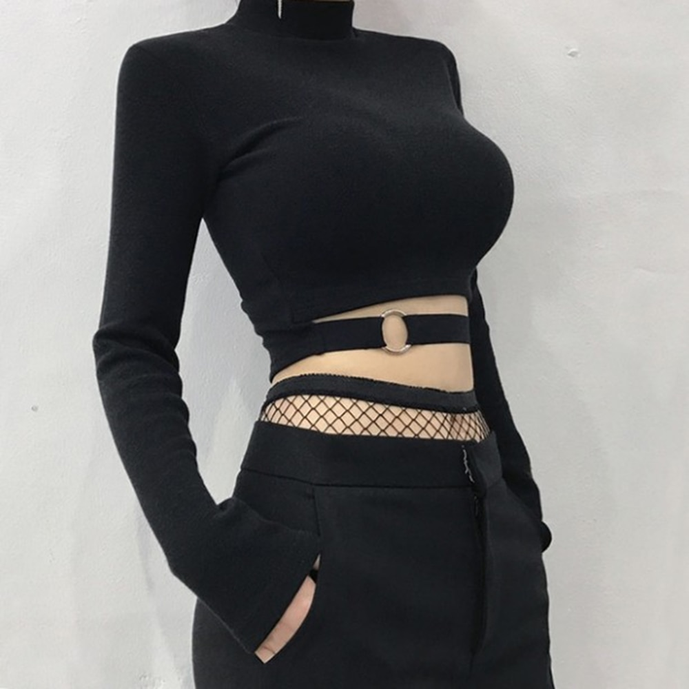 KLV Top corto con apertura de primavera 2019, Camiseta corta de manga larga, camiseta sexi femenina, ropa de estilo callejero, ropa de Club Bar