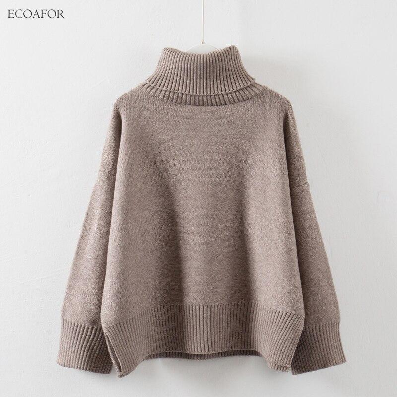 Suéter grueso de cuello alto para mujer, pulóveres cálidos sólidos de invierno con abertura lateral, Jersey holgado para mujer, suéter de gran tamaño con cuello alto