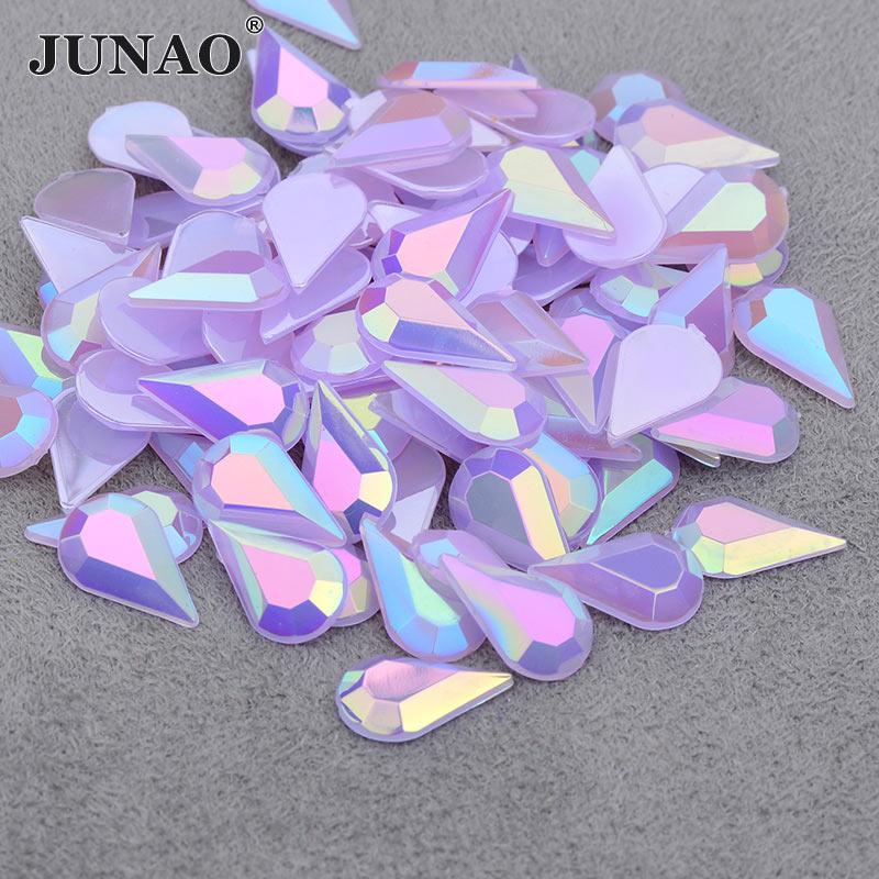 JUNAO 5*8mm 8*13mm Glitter Purple AB Drop Rhinestones Applique Flatback Acrylic Gems DIY Face Nail Crystal Stones Non Sew Strass