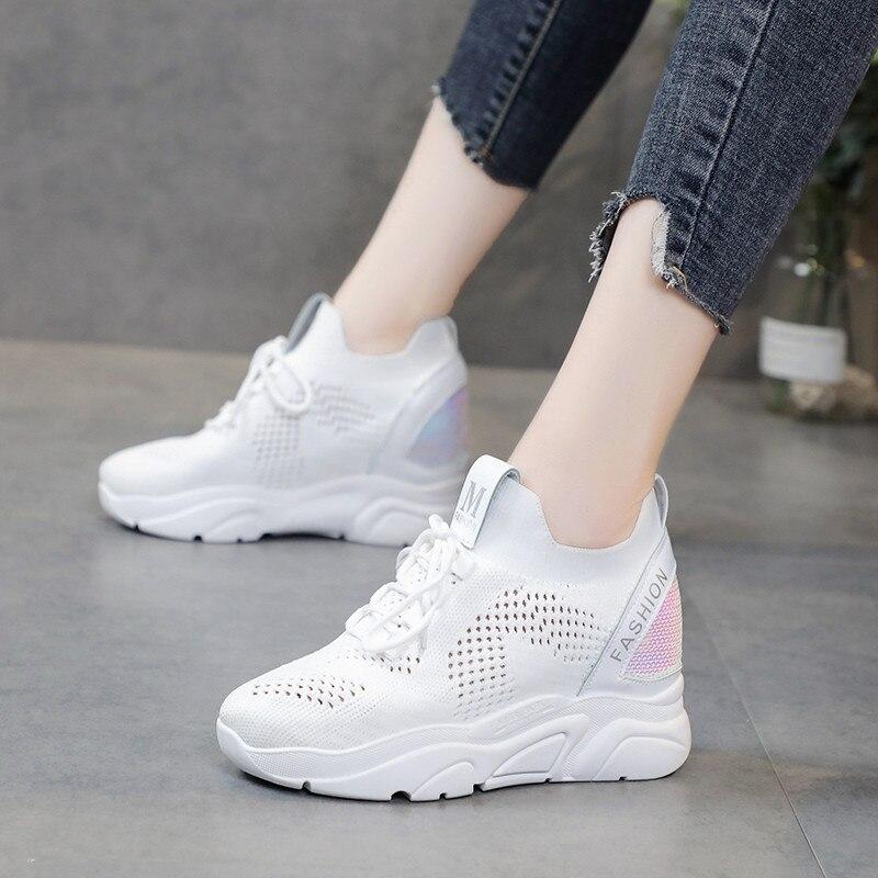Niña de primavera zapatos vulcanizados con cordones para mujer, con tacón alto y tacón oculto, zapatillas informales transpirables, 2019