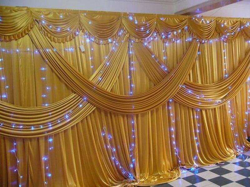 Золотые ледяные шелковые свадебные декорации, сценический фон с драпой и занавеской 20 футов (Ш) x 10 футов (в) для свадебного декора