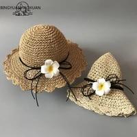 2018 fashion women flower hats handmade straw wide brim casual hats summer hat between parents and children cute beach hat