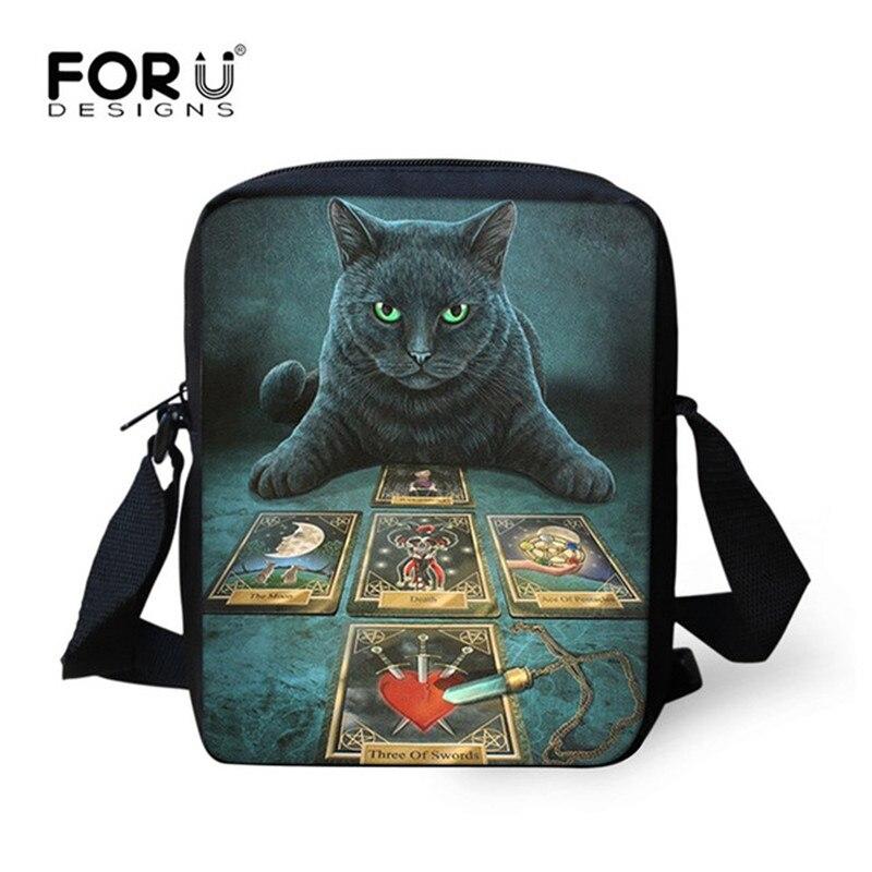 FORUDESIGNS moda mujer Casual Messenger bolsas The Witching Hour brujería gato negro estampado 3D Cross-body Bag Bolsos De Mujer