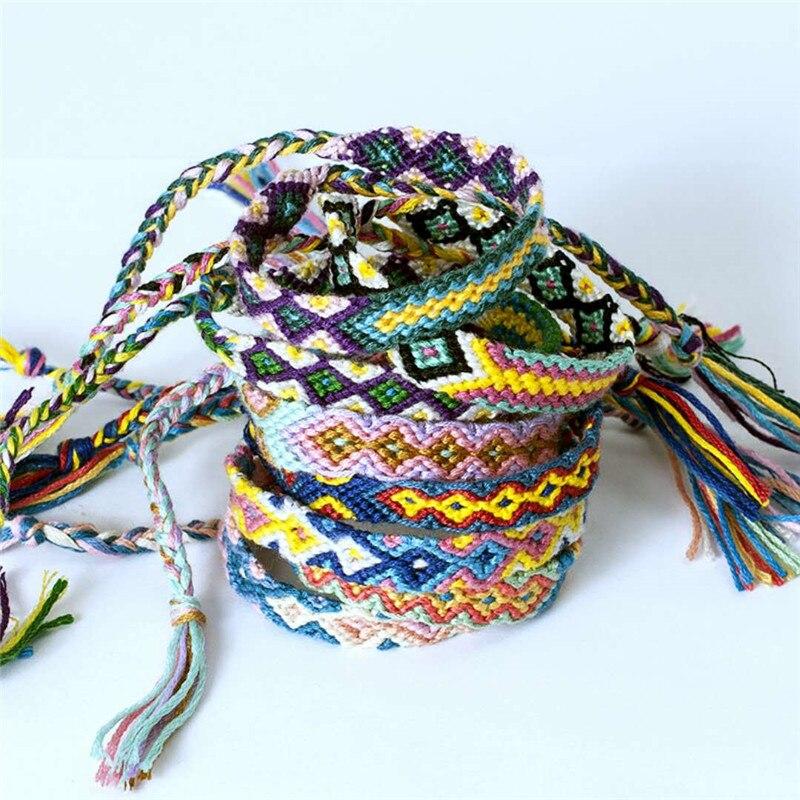 1 pulsera de estilo bohemio étnico Nepalés hecha a mano para verano, playa, trenza de hilo de algodón, cuerda tejida, pulseras de amistad para mujeres y hombres