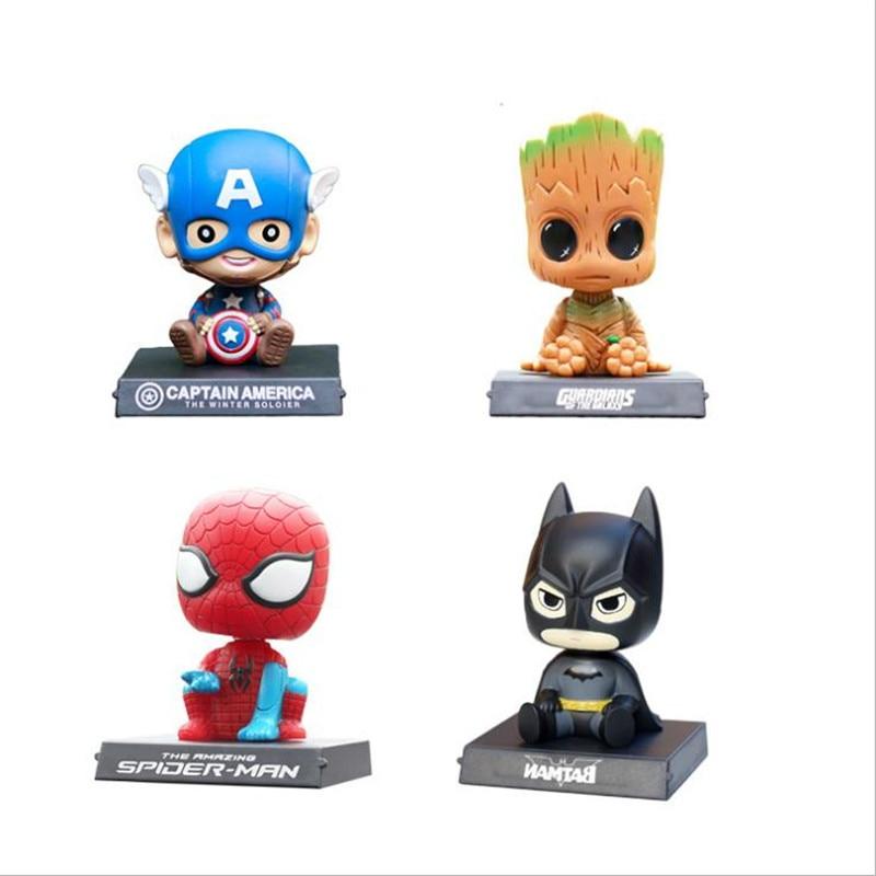 Captain America Spider Man Batman Cosplay Car Shake Head Doll Anime Cartoon Automobile Decoration Mobile Phone Seat For Men