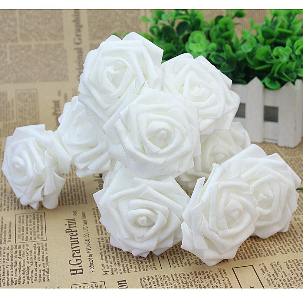 10 pcs Espuma Branca Nupcial Do Casamento Bouquet Artificial Rose Flores Florais Feitos À Mão Decoração de Casa Festivo da Decoração Do Partido