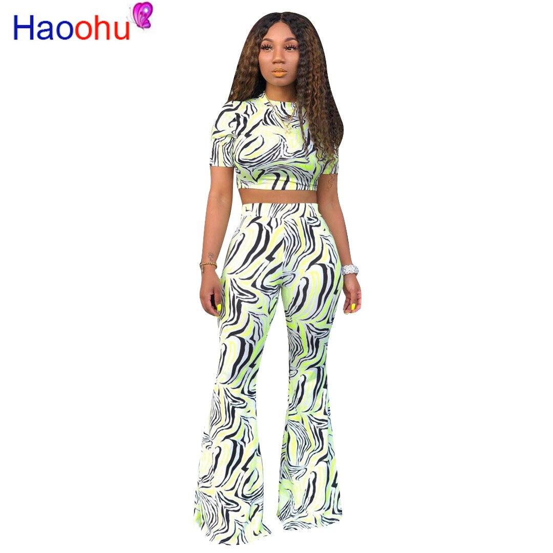 HAOOHU زيبرا طباعة قطعتين مجموعة ملابس الصيف للنساء مثير المحاصيل الأعلى و بنطال ذو قصة أرجل واسعة دعوى 2 Pice وتتسابق مطابقة مجموعات
