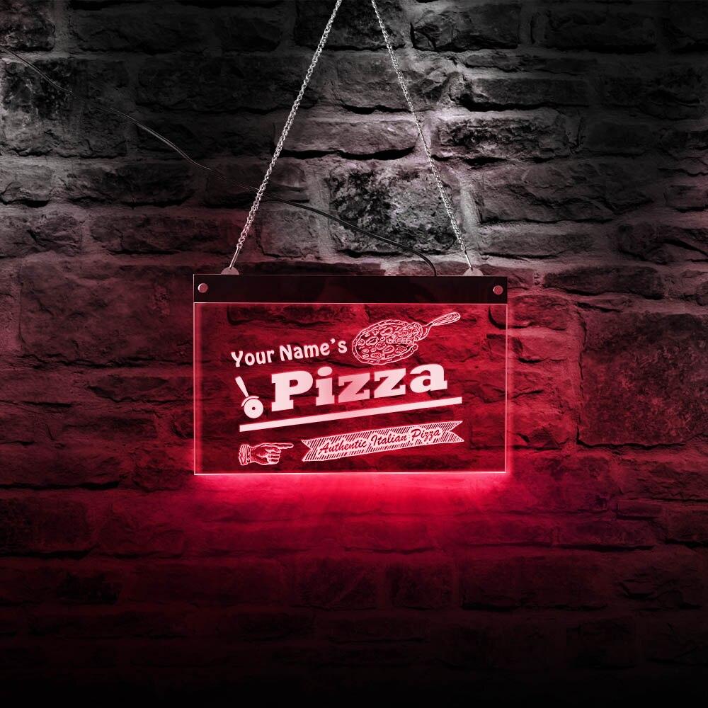 Pizza personalizado letrero de neón con luz LED de negocios tablero acrílico auténtico italiano Pizza tienda señal pared decoración lámpara