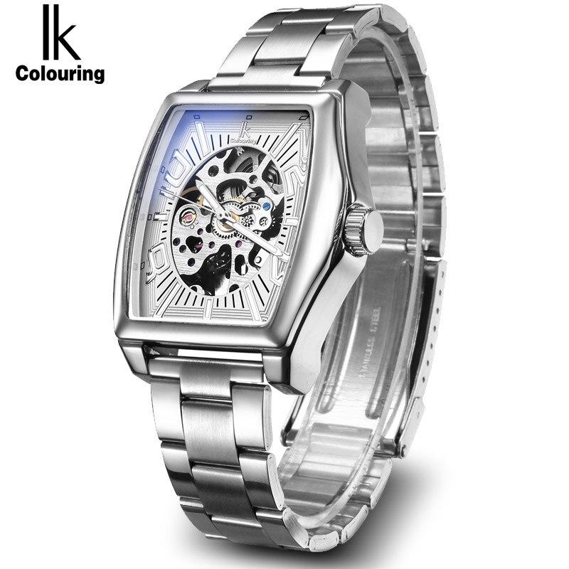 Pulseira de Aço Ouro Esqueleto Lxuury Relógio Masculino Prata Relógios Mecânicos Automáticos Moda Casual Negócio Vestido ik
