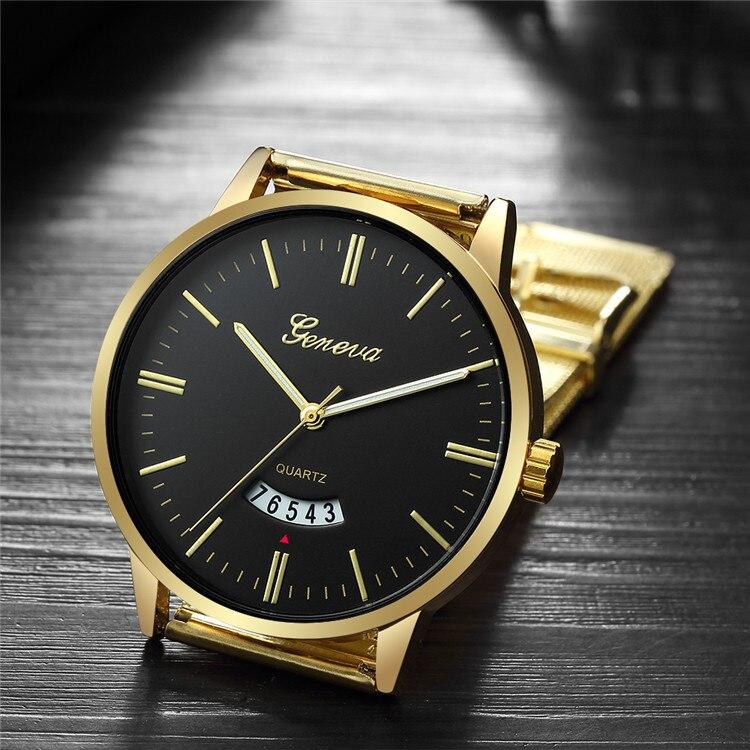 Nuevo reloj Geneva de acero inoxidable ultradelgado para hombre, reloj deportivo de cristal azul para hombre, reloj de pulsera para hombre, reloj masculino