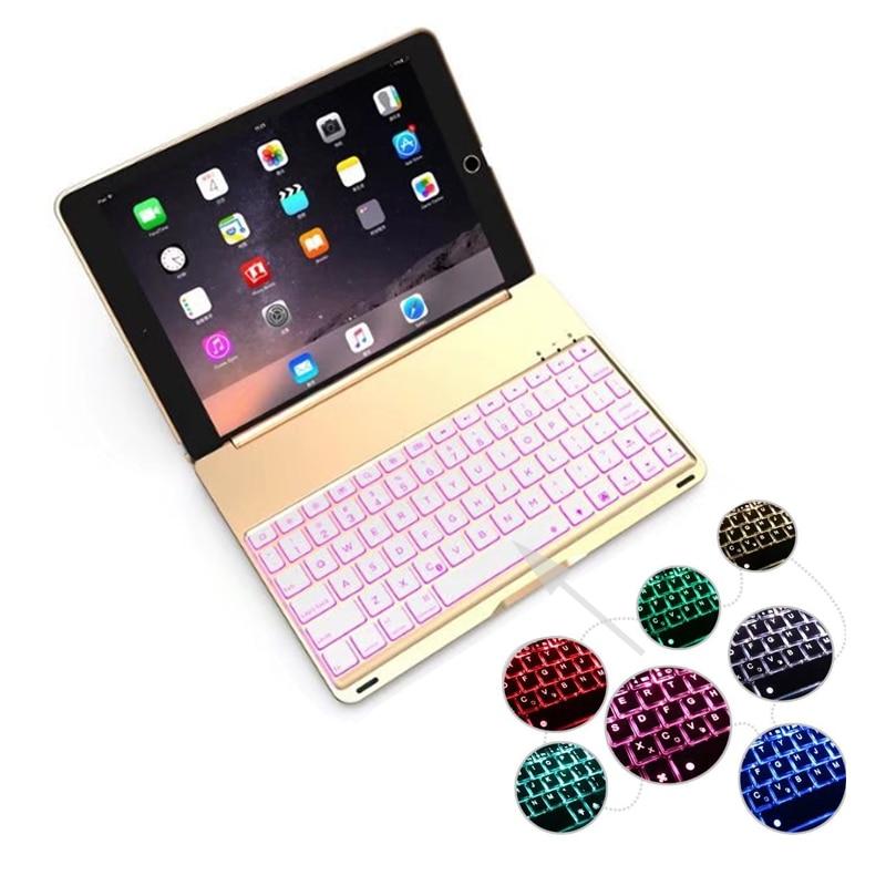 Cubierta de carcasa de teclado Bluetooth inalámbrico de aleación de aluminio con luz retroiluminada de 7 colores de alta calidad para iPad 9,7 Nuevo 2017 A1822 A1823
