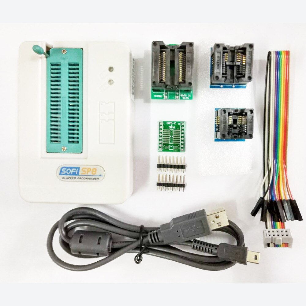 SOFI SP8-A (93/24/25/BR90/SPI programador USB eeeprom BIOS compatible con 4000 + 4 adaptadores