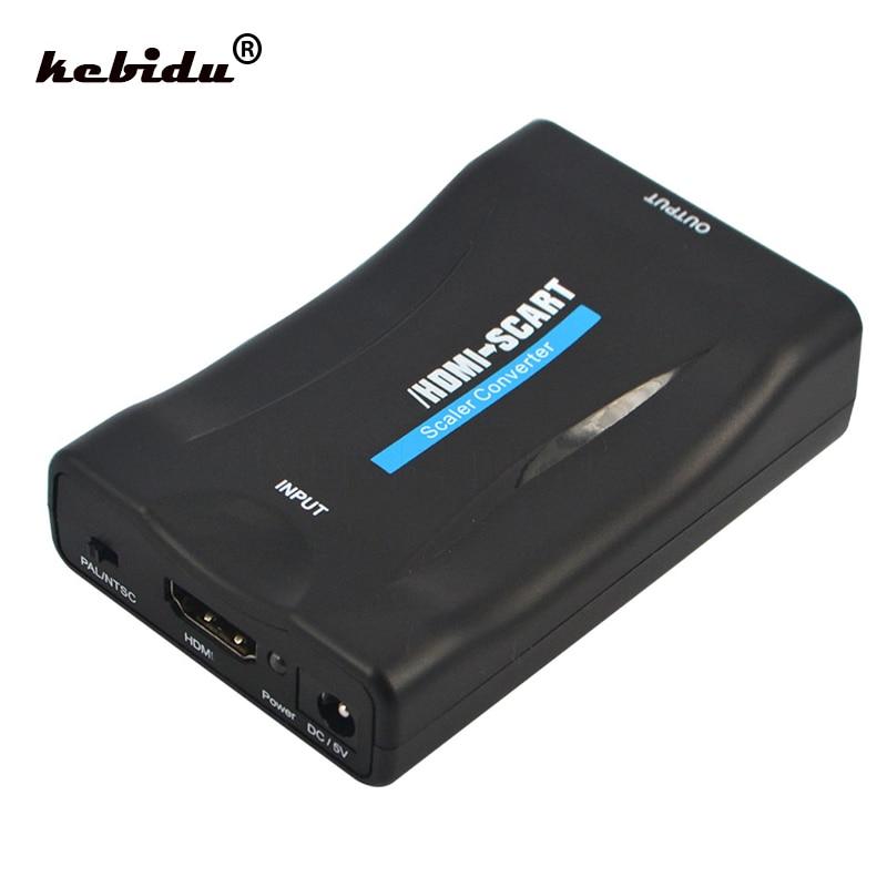 Kebidu, adaptador de HDMI a Scart de 1080P, convertidor de vídeo HDMI a SCART para Samsung Smartphone a CRT TV, convertidor de DVD