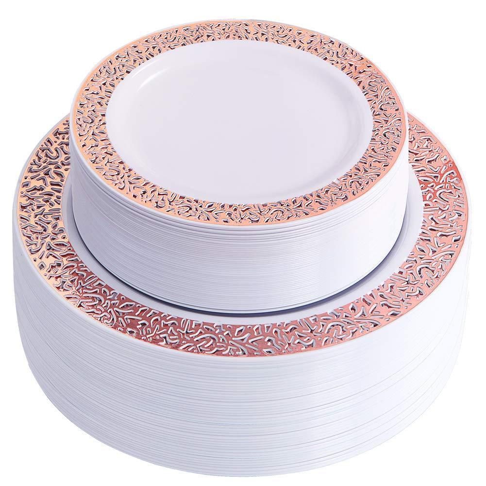 Placas plásticas da festa de casamento do design do laço do ouro de rosa do pacote 25, placas extravagantes da salada e pratos do aperitivo para todas as férias e ocasiões