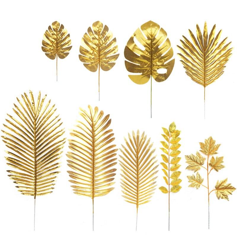 Oro Artificial Monstera Tropical Plam árbol hojas fotografía Fondo plantas falsas boda cumpleaños fiesta decoración del hogar