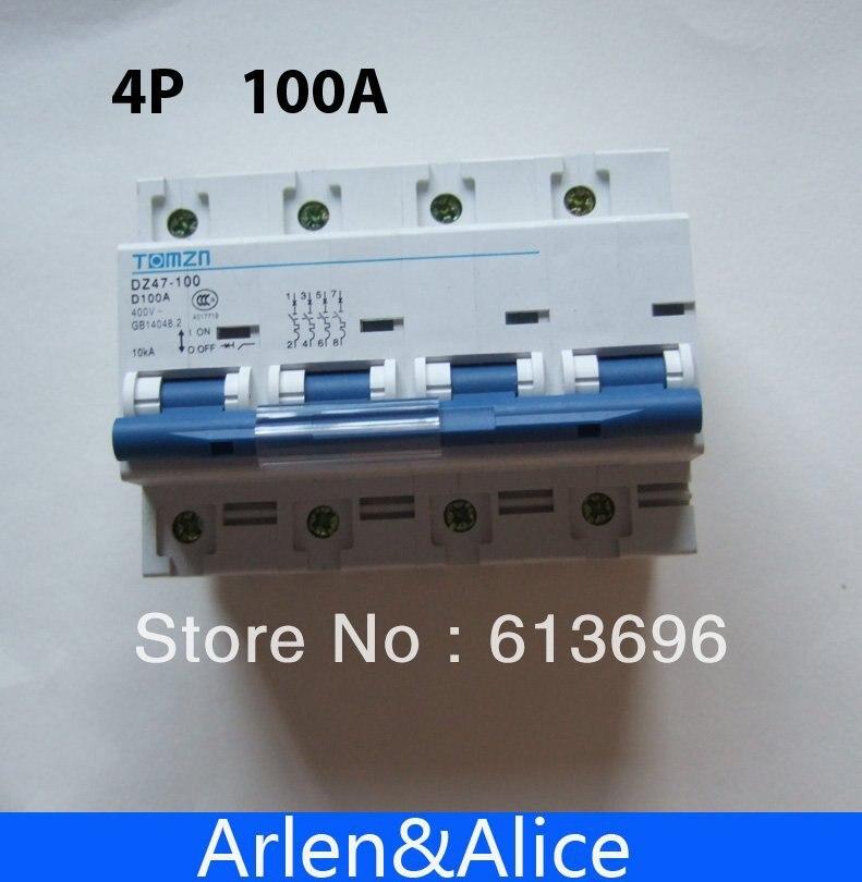 Disyuntor MCB 4P 100A 240 V/415 V 50 HZ/60 HZ