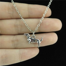 GLOWCAT Q0A43 alliage dargent intelligent Animal teckel Pet chien pendentif chaîne courte collier collier 18