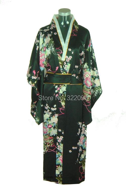 Shanghai Story gran venta Vintage estilo japonés vestido japonés de seda satén Kimono Yukata vestido de noche color negro H0037