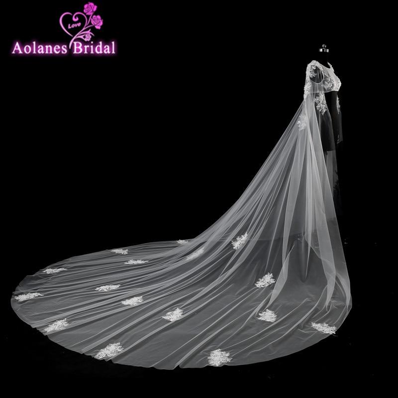 Aolanes 2017 novo longo appliqued rendas tule xale encolher para o vestido de casamento encantador botão voltar vestido de noiva manto bolero véus