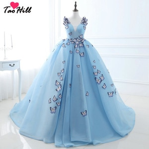 TaoHill Free Shipping Ball Gown Deep V-neck Sky Blue Evening Dress Straps With Butterfly Flowers Princess Party Dresses