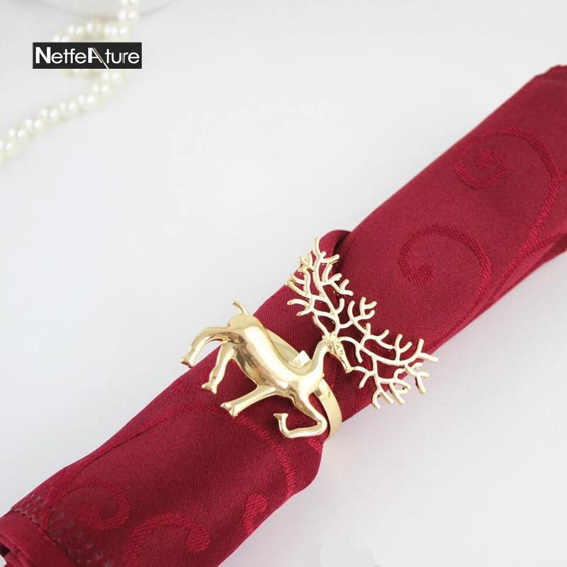 New 6Pcs Metal Christmas Deer Shape Napkin Ring Napkin Buckle Hotel Restaurant Home Dinner Table Decoration Serviette Holder