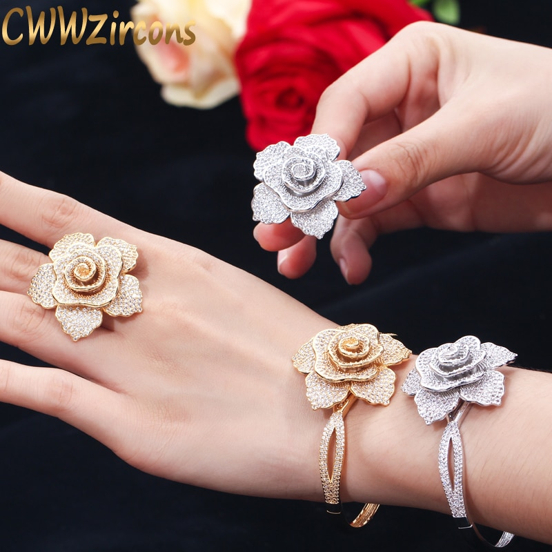 Cwwzircons luxo zircônia cúbica grande ouro geométrica flor anéis de festa casamento feminino e pulseira conjuntos de jóias para noivas t323