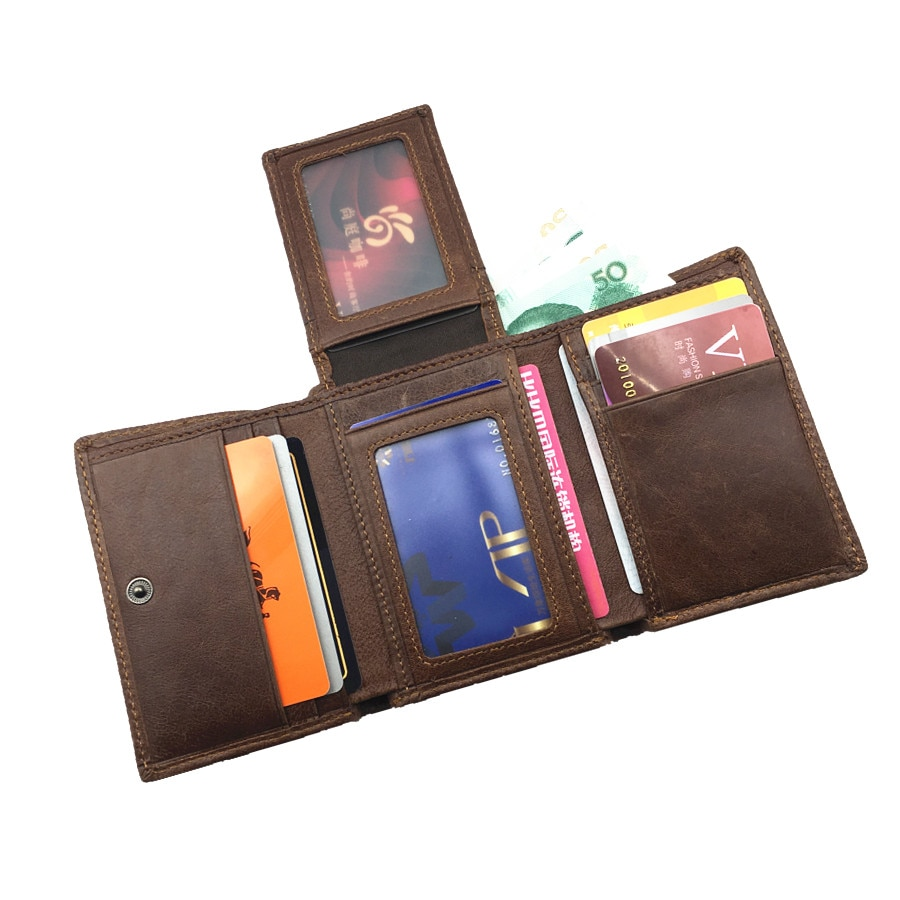Cartera de cuero genuino de bloqueo Rfid con tarjetero de diseño corto carteras de hombre para viajes 2017 nueva bolsa de dinero walet