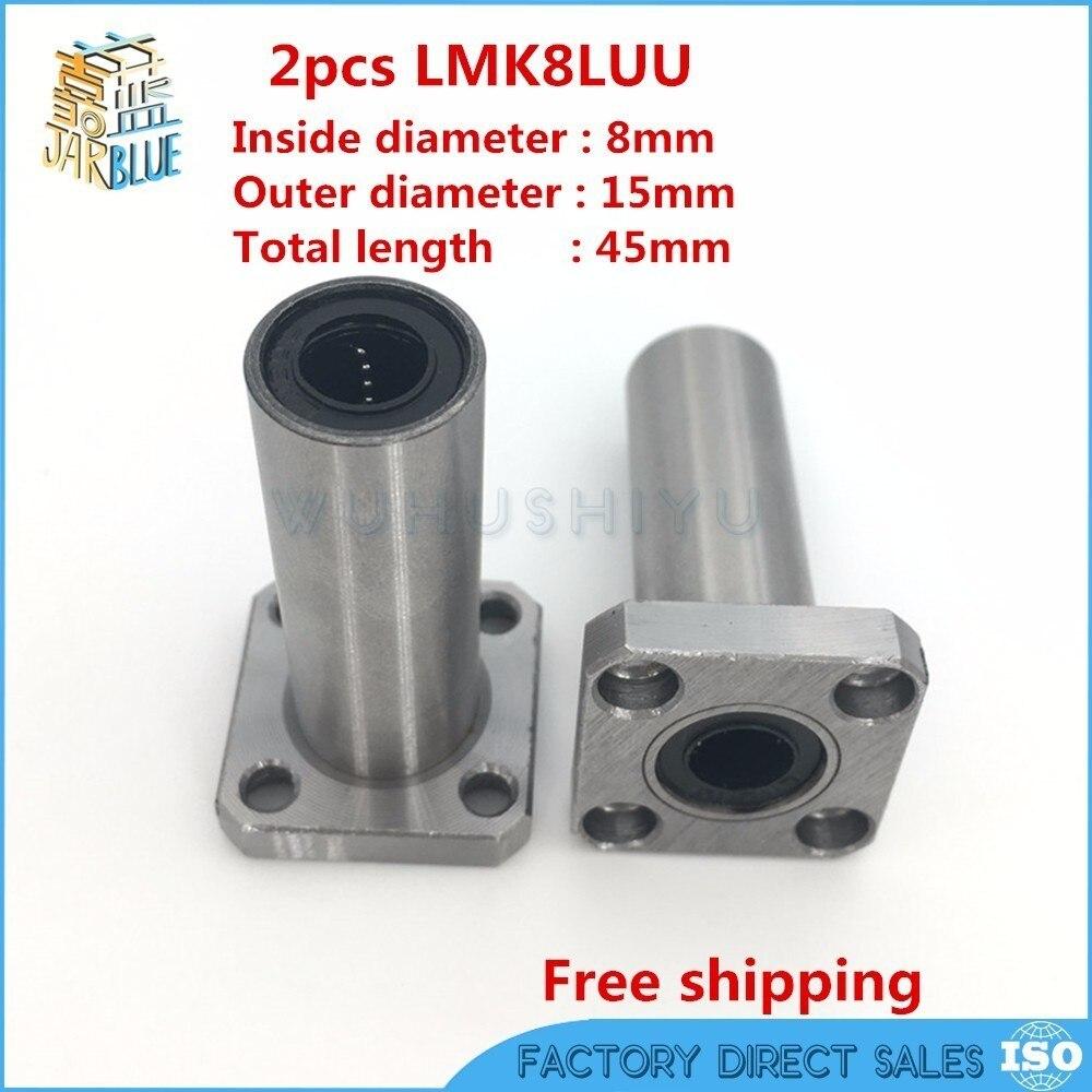 2 шт. LMK8LUU 8 мм Длинный тип фланец подшипник Линейный Буш 3d priter XYZ ЧПУ Запчасти LMK8L