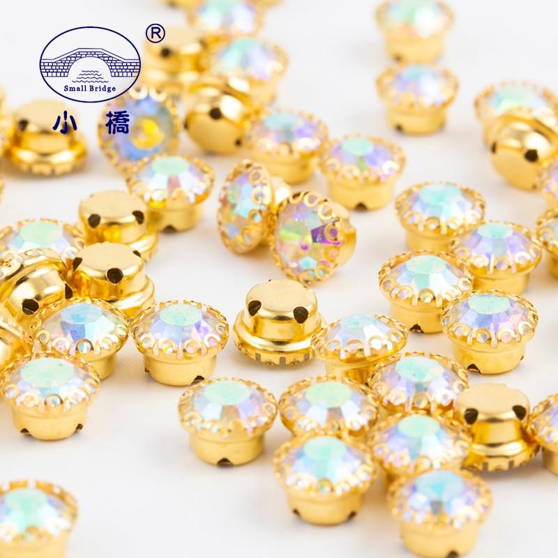 Pedrería con base dorada AB de cristal para coser diamantes de imitación con parte posterior plana con garra, pedrería de cristal suelta para ropa 50 Uds S148