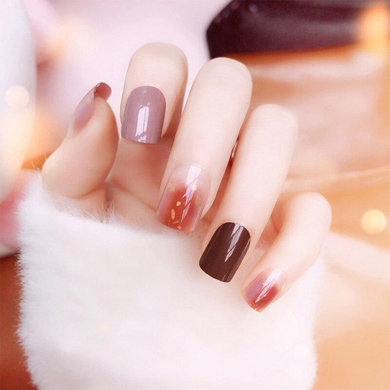 24 Uds muchas uñas falsas con pegamento estilo coreano candy Color renderizado diseños puntas completas uñas falsas cortas uñas híbridas