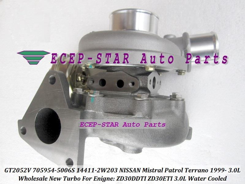 Agua Turbo GT2052V 705954, 705954-5006S 705954-0006 14411-2W203 144112W203 para NISSAN Mistral Terrano 99-ZD30DTI ZD30ETI 3.0L