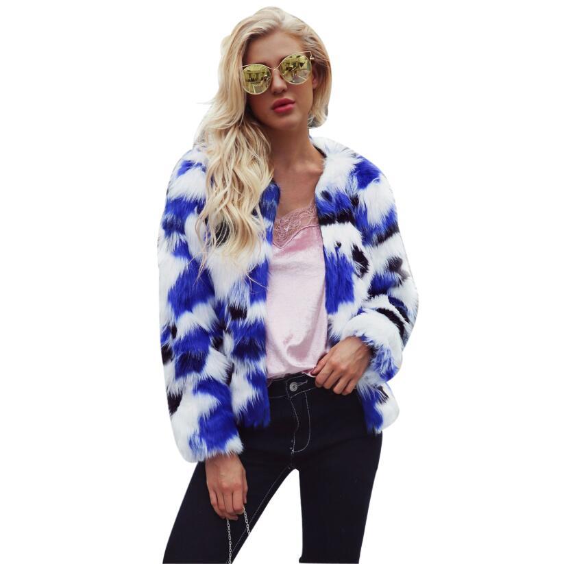 2018 Elegant Women's Faux Fur Coat Colorful Multicolor Color square Long Sleeve Round neck Casual Winter fur coat Women chic round neck long sleeve beaded coat for women