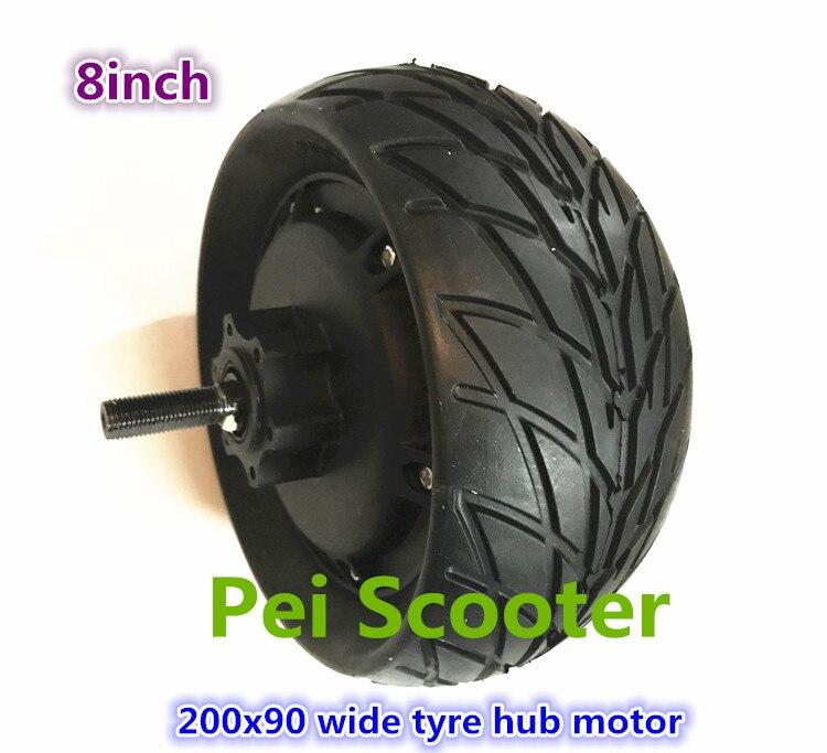 8 pulgadas, 200x90, neumático ancho, doble eje, sin escobillas, CC, escúter eléctrico, motor de rueda con phub-299 de freno de disco
