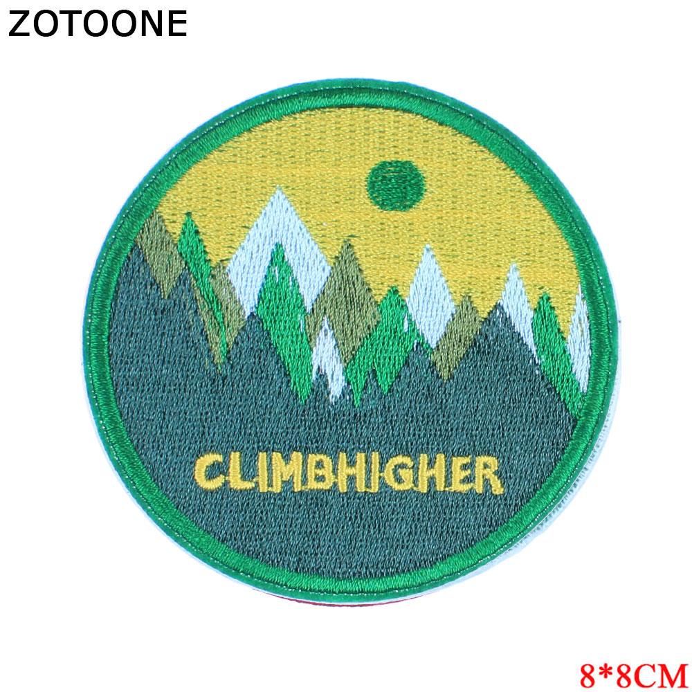 "ZOTOONE, parches de bosque verde ""subir más alto"" para chaqueta vaquera, apliques bordados en adhesivos para ropa, orgullo, costura en insignia E"