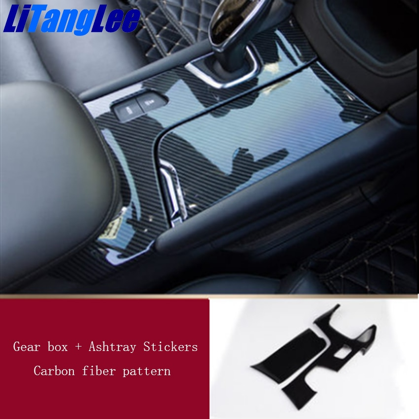 Litanglee ABS fibra de carbono Cambio de engranaje de coche Auto decorativo cambio de cambios accesorios de coche para Cadillac XT5