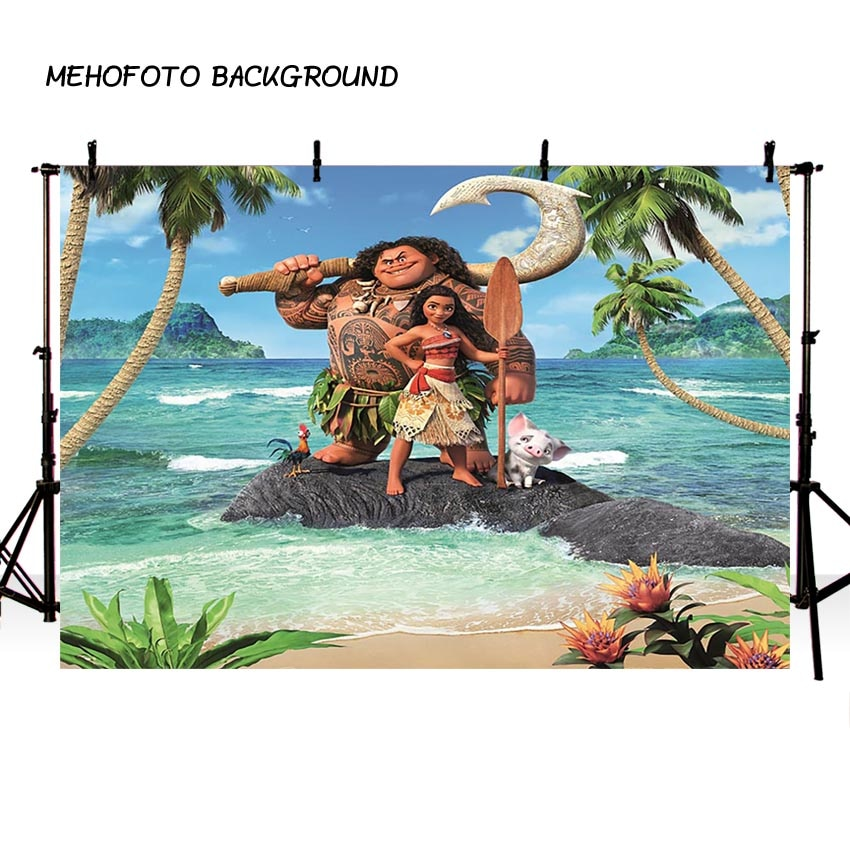 MEHOFOTO Moana telón de fondo para la fotografía tema banderines para fiesta de cumpleaños Waialiki Maui fiesta evento para fotos