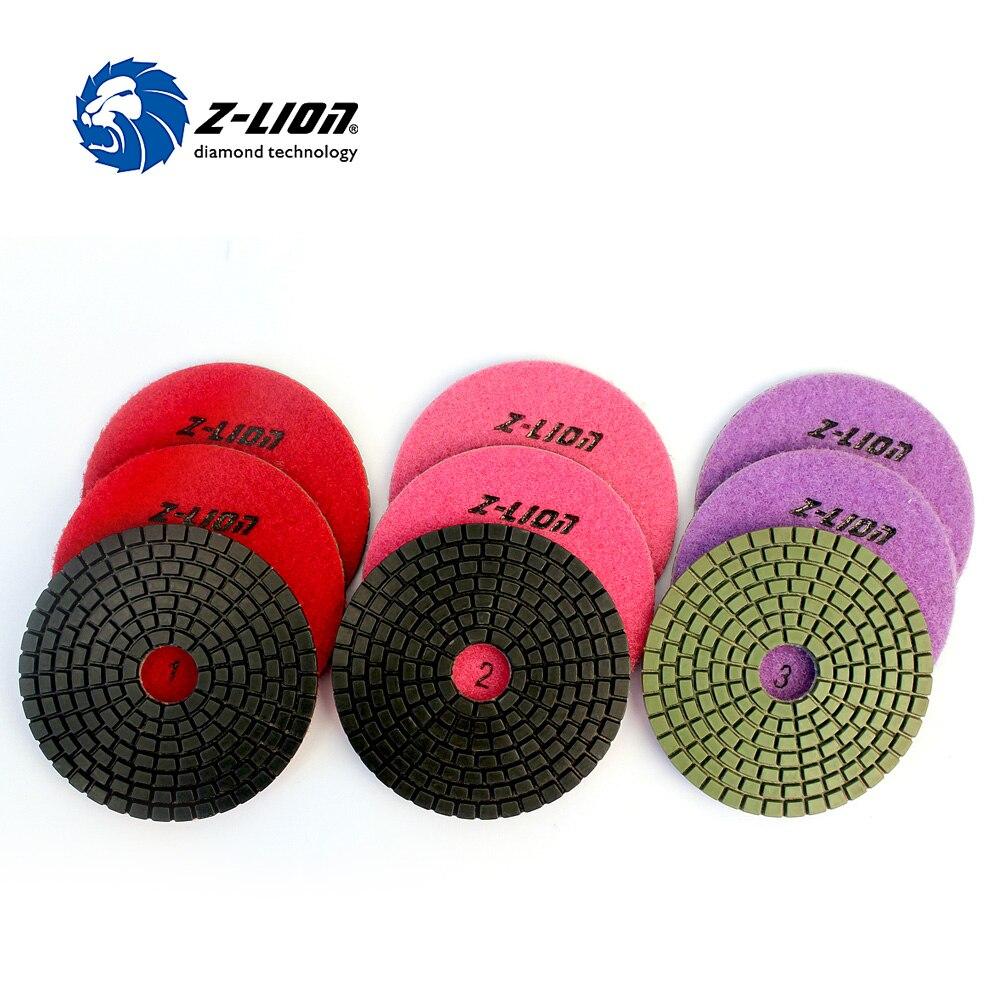 Z-LION 9 piezas almohadilla de pulido de diamante 3 pasos granito mármol pulido 3 juegos 100mm flexible piedra mojada molienda instrumento de diamante