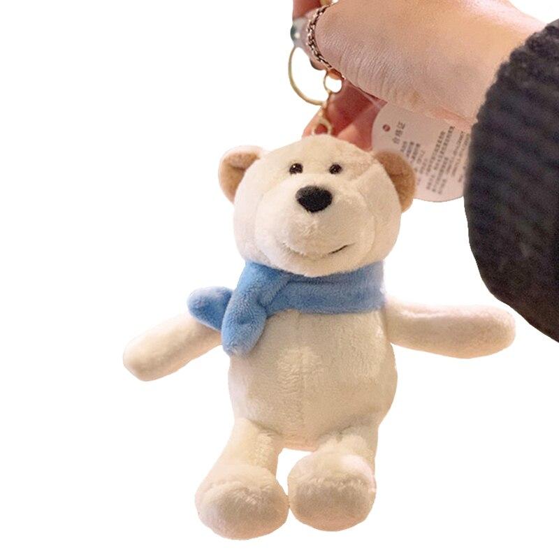 Милый мультяшный животный плюшевый игрушечный брелок для рюкзака брелок 15 см в ношении шарф белый медведь галстук-бабочка плюшевый мишка маленький подарок друзьям