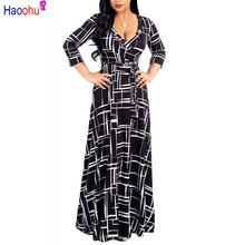 HAOOHU Plus Size black Bohemian Long Dress  Women Autumn Winter Tunic Maxi Beach Dress gold Female Floor-Length Vestido