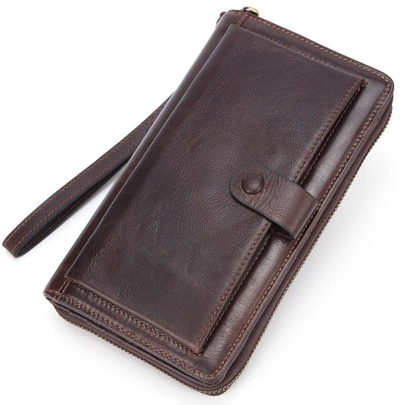 Genuine Leather Men's Wallet Mini Coin Purse Card Holder Men Phone Pocket Cash Money Bag Handle Hand Bag Male Zipper Long Wallet  - buy with discount