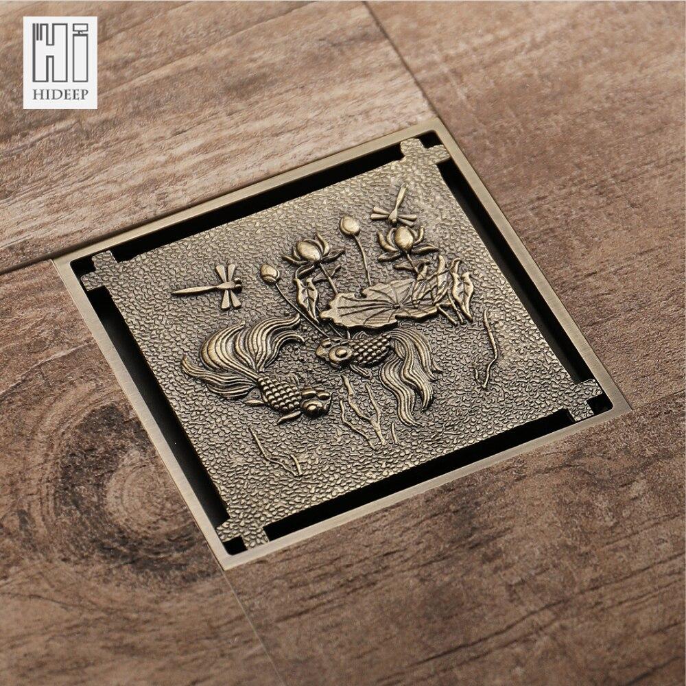 HIDEEP латунная крышка для душа из античной бронзы с узором рыбы и лотоса резная