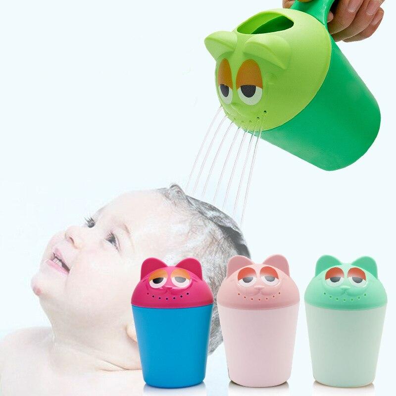 Baño del bebé de los niños lavado pelo champú lindo vaca de dibujos animados taza niños ducha cucharas de silicona cuchara para agua copa para niños Baño
