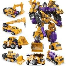 jinjiang 6 IN 1 Devastator Classic Toys Cool Transformation Action Figure KO GT Truck Excavator Crane Model Robot Boy Adult Toy