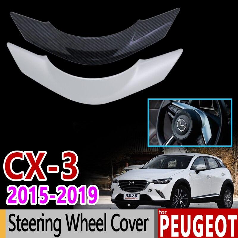 Para Mazda CX-3 fibra de carbono cromado ajuste conjunto volante cubierta 2015 2016 2017 2018 CX3 CX 3 accesorios pegatinas de diseño de coche